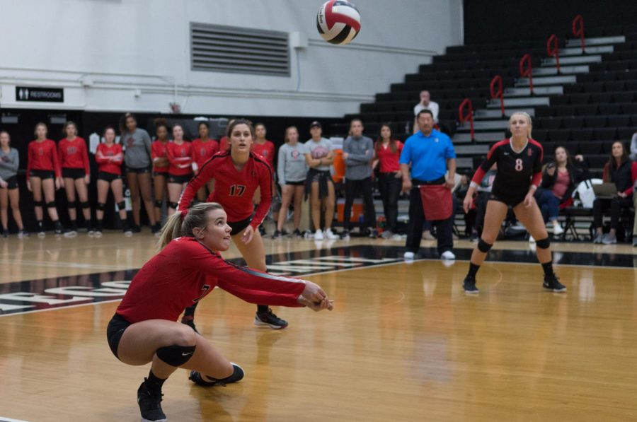 Then-junior+outside+hitter+Hannah+Turnlund+looks+to+put+the+ball+in+play+during+the+Aztecs+four-set+victory+over+Nevada+on+Nov.+15+at+Peterson+Gym.