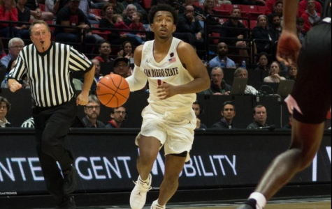 Senior guard Devin Watson looks to initiate offense during the Aztecs' 76-60 victory over Arkansas-Pine Bluff on Nov. 6 at Viejas Arena.