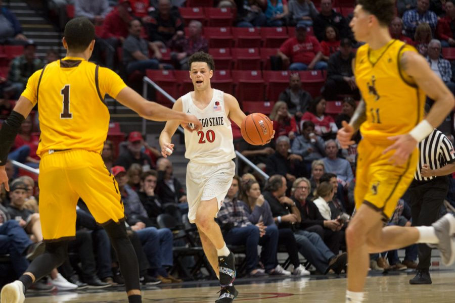 Sophomore+guard+Jordan+Schakel+runs+the+ball+up+the+court+during+the+Aztecs+84-54+victory+over+Wyoming+on+Jan.+8+at+Viejas+Arena.+