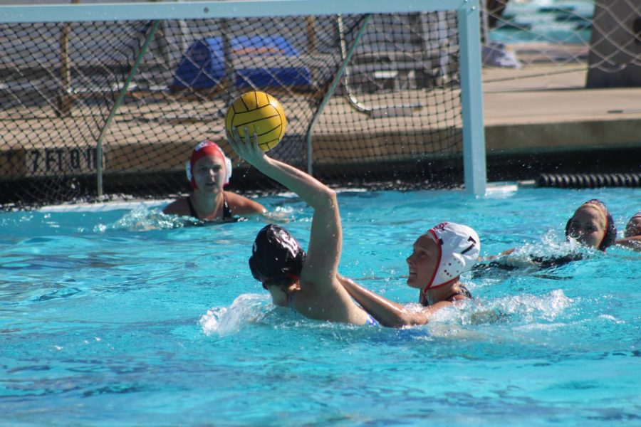 Senior goalkeeper Maura Cantoni guards the goal as a member of the SDSU alumni team attempts to score during the alumni's 12-9 victory at the Aztec Aquaplex on Jan. 26.