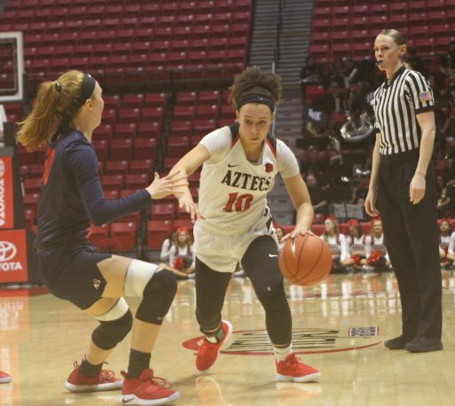 Sophomore guard Najé Murray drives to the left during the Aztecs' 87-81 loss against Fresno State on Jan. 23 at Viejas Arena.