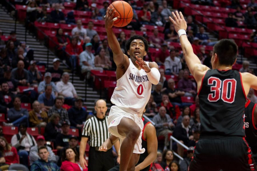 Senior+guard+Devin+Watson+attempts+a+layup+during+the+Aztecs+65-60+victory+over+CSUN+on+Jan.+1+at+Viejas+Arena.