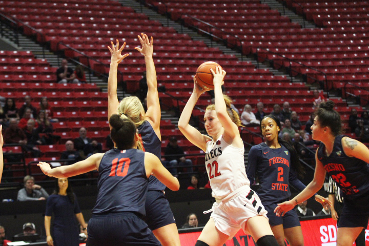 Redshirt junior center Zayn Dornstauder looks to pass the ball during the Aztecs 87-81 loss to Fresno State on Jan. 23 at Viejas Arena.