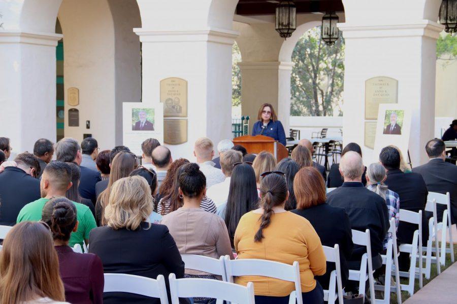 President Adela de la Torre addresses audience at Morteza Mehrabadi's naming event on Friday, Jan. 25 in the engineering building quad.