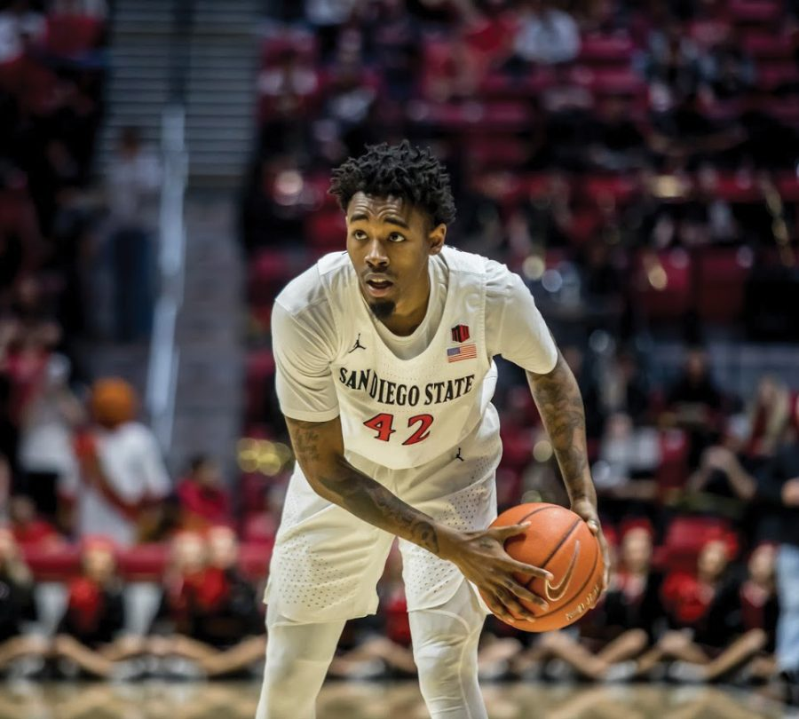 Senior+guard+Jeremy+Hemsley+faces+off+against+his+defender+during+the+Aztecs%27+94-77+victory+over+UNLV+at+Viejas+Arena.