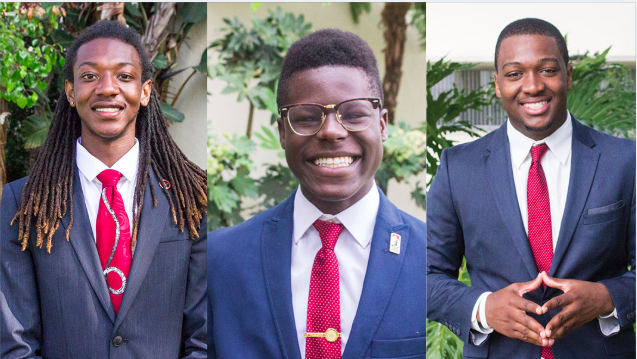 (Left to right)Vice President of University Affairs Ronnie J. Cravens Jr., Vice President of External Relations Michael Wiafe and Vice President of Financial Affairs Christian Onwuka.