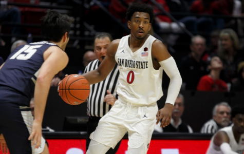 Senior guard Devin Watson carries the ball during the Aztecs 68-63 victory over Utah State on Feb. 9 at Viejas Arena. Watson finished with a team-high 23 points for SDSU.