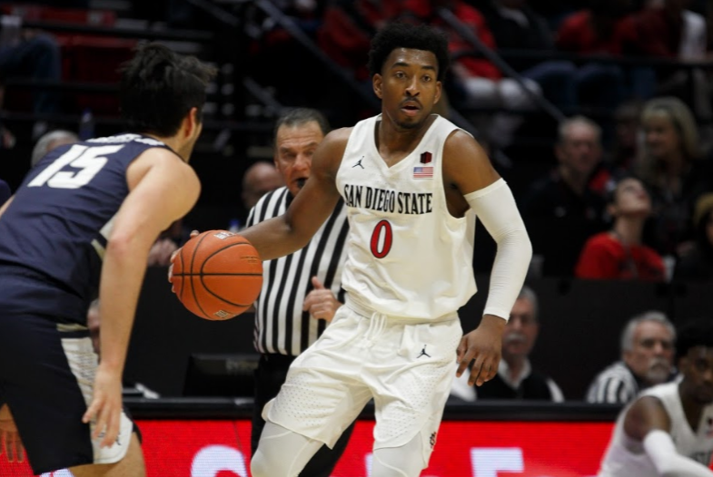 Senior+guard+Devin+Watson+carries+the+ball+during+the+Aztecs+68-63+victory+over+Utah+State+on+Feb.+9+at+Viejas+Arena.+Watson+finished+with+a+team-high+23+points+for+SDSU.+