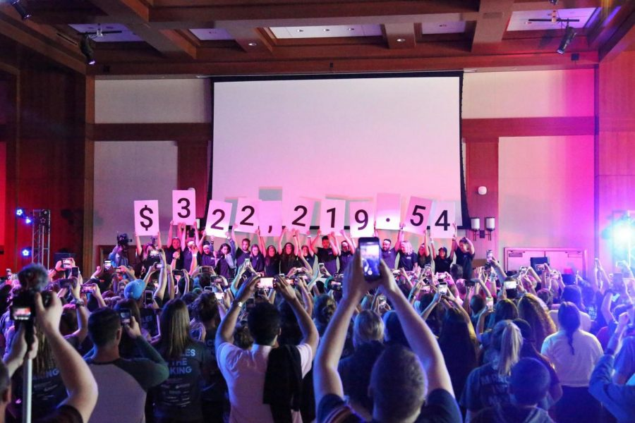 Dance+Marathon+at+SDSU+surpassed+its+fundraising+goal+of+%24321%2C000+on+Saturday+morning+after+15+hours+of+dancing.
