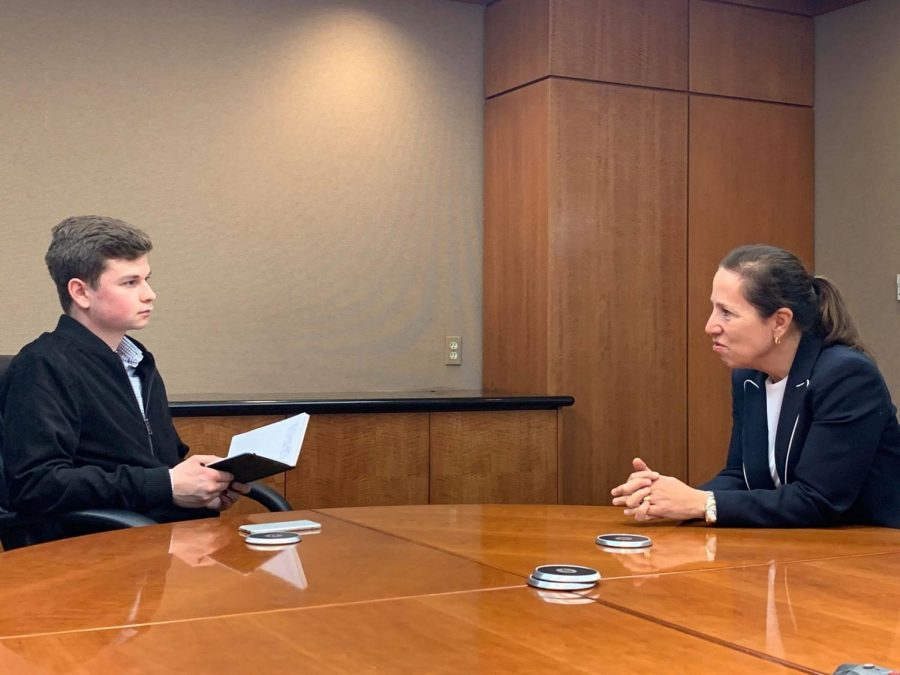 Californias Lt. Gov. Eleni Kounalakis sits down with Daily Aztec senior staff writer Michael Cline on Feb. 1 to talk about the governments relationship with higher education.