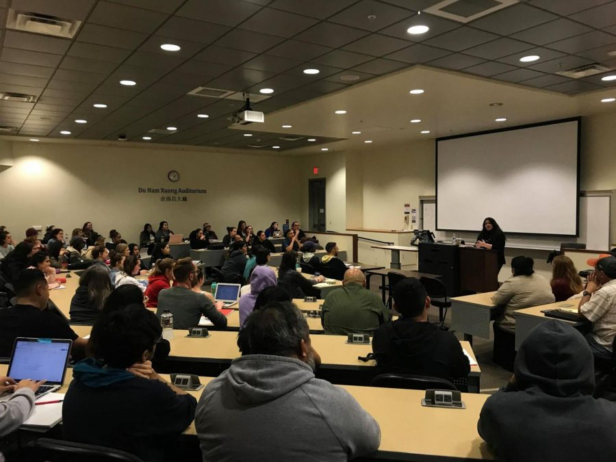 Humboldt State University American Indian Studies Department Chair Cutcha Risling Baldy addressed a group about issues of decolonization and the Aztec mascot at a Feb. 20 lecture at SDSU.