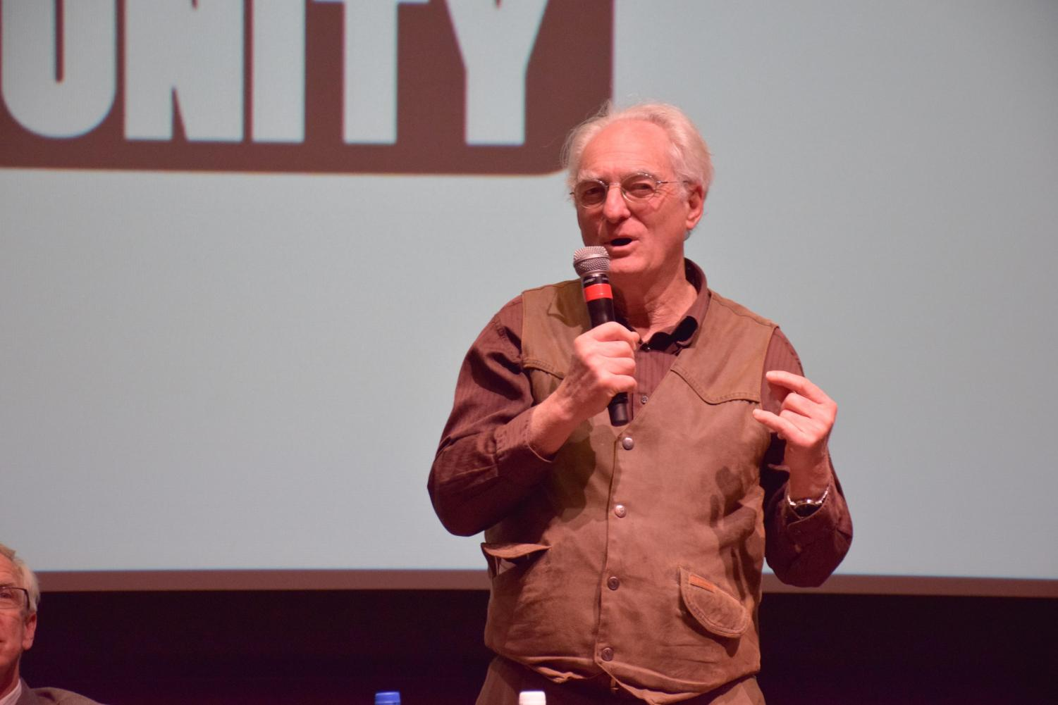"""Filmmaker Stephen Most speaks during a panel after a screening of """"Wilder than Wild"""" on Feb. 12."""