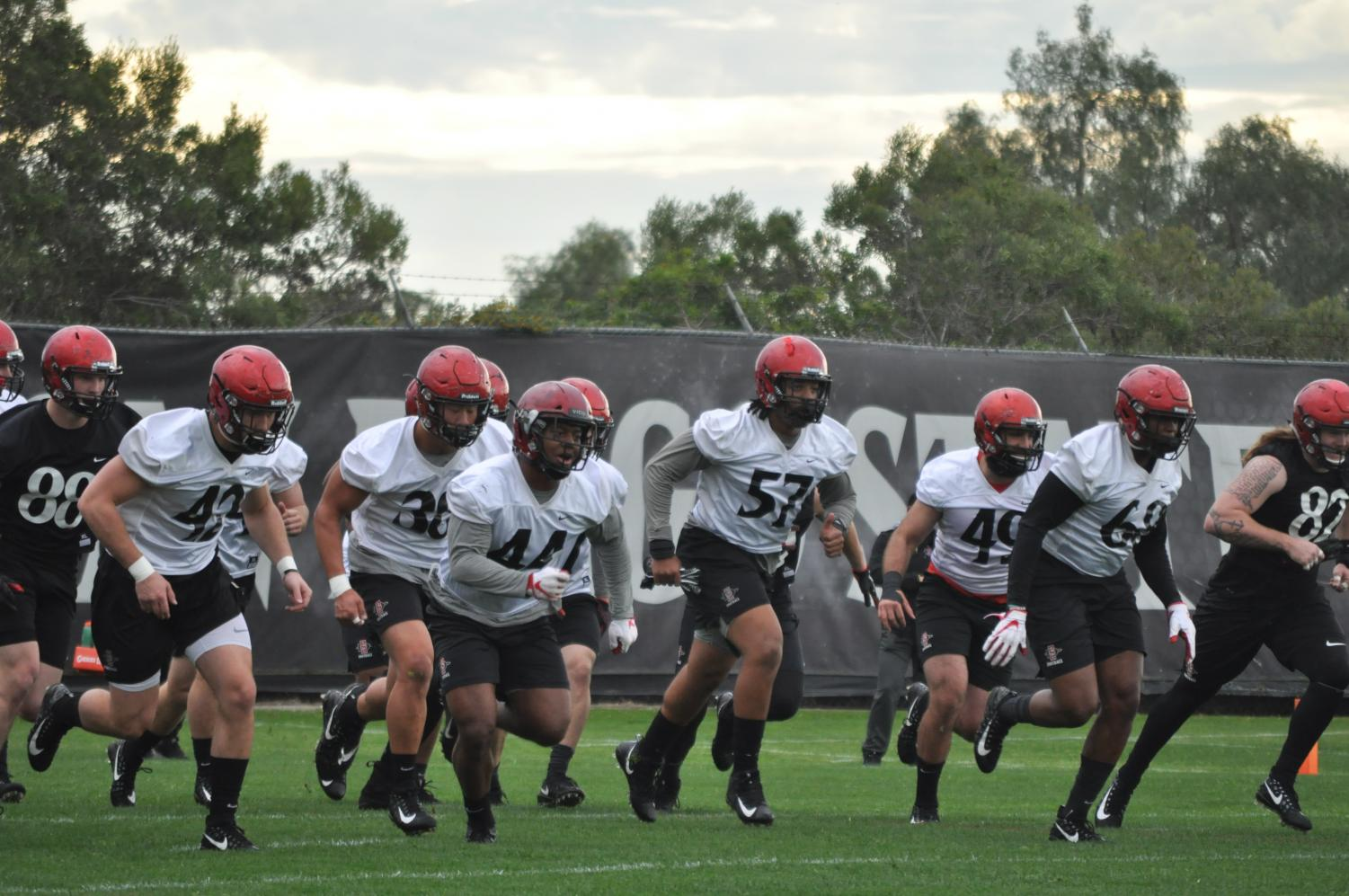 San Diego State football does sprints to warm up before a spring practice on March 5 at the SDSU Practice Field.