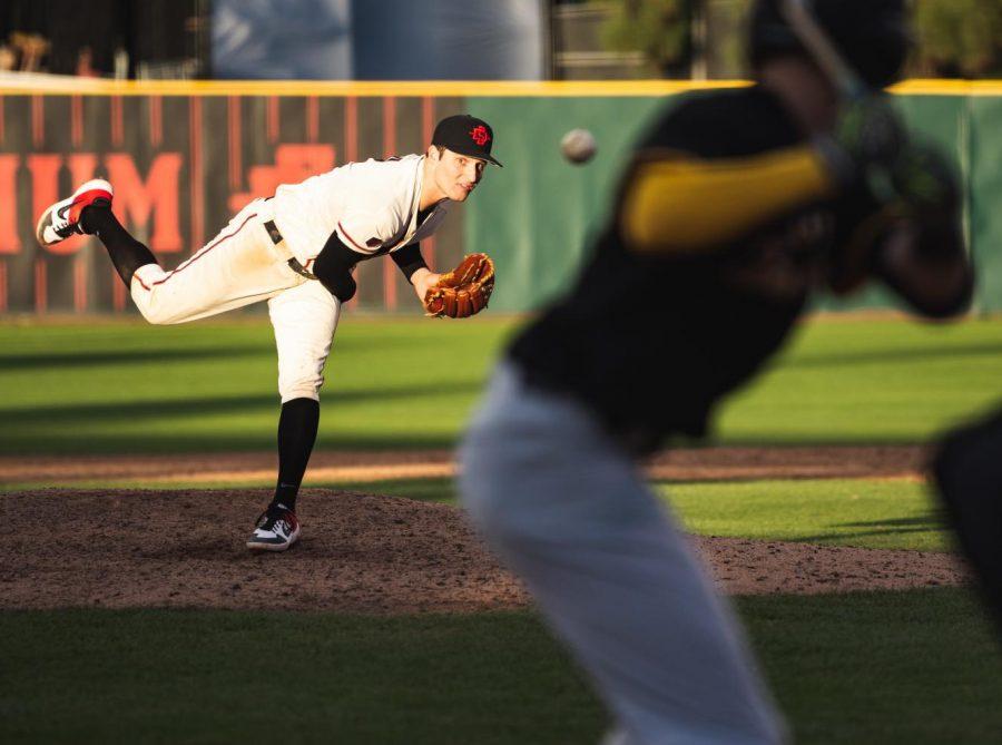 Sophomore pitcher Casey Schmitt throws a pitch against San Francisco at Tony Gwynn Stadium.