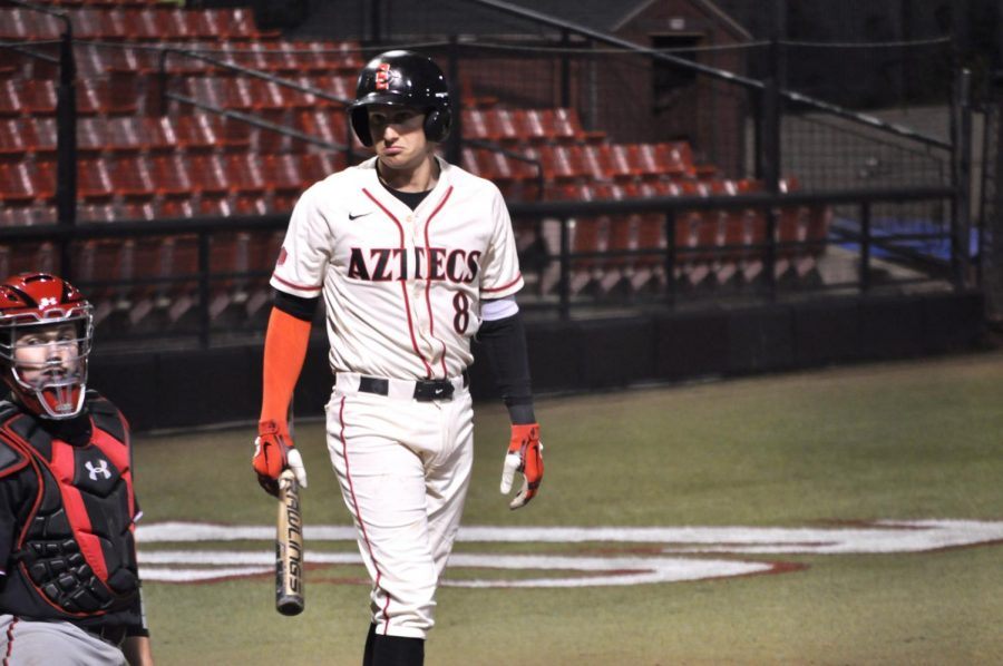 Sophomore infielder Casey Schmitt looks back while at bat during the Aztecs' 5-1 loss to Texas Tech on March 5 at Tony Gwynn Stadium.