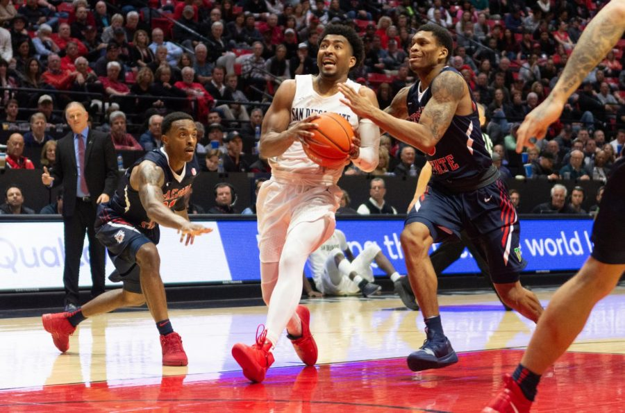 Senior guard Devin Watson drives to the hoop during the Aztecs 76-74 loss to Fresno State on March 6 at Viejas Arena.