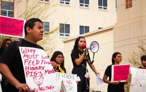 Members of MEChA de SDSU gathered outside Arts and Letters on March 6 to rally in solidarity with poor students.