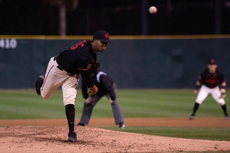 Freshman pitcher Aaron Eden delivers a pitch against San Diego on Feb. 26 at Tony Gwynn Stadium.