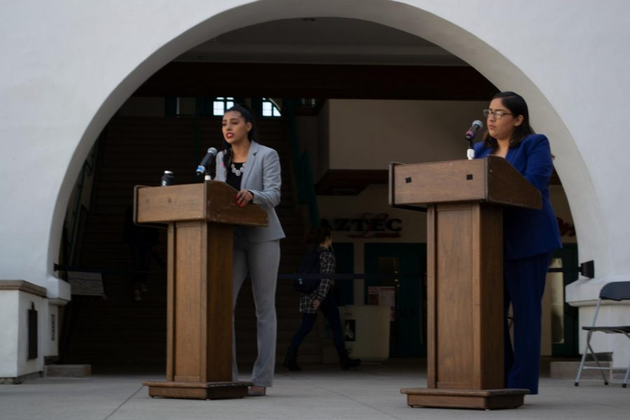 A.S. vice president of external affairs candidates Stephanie Estrada (left) and Angelica Espinoza face off in the second day of A.S. election debates at the Conrad Prebys Aztec Student Union on March 20.