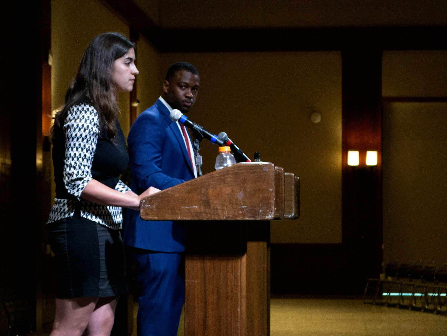 Presidential candidates Mariya Nadberezhna and Christian Onwuka debate in Montezuma Hall on Wednesday, March 20. The debates were moved out of the Conrad Prebys Aztec Student Union due to inclement weather.