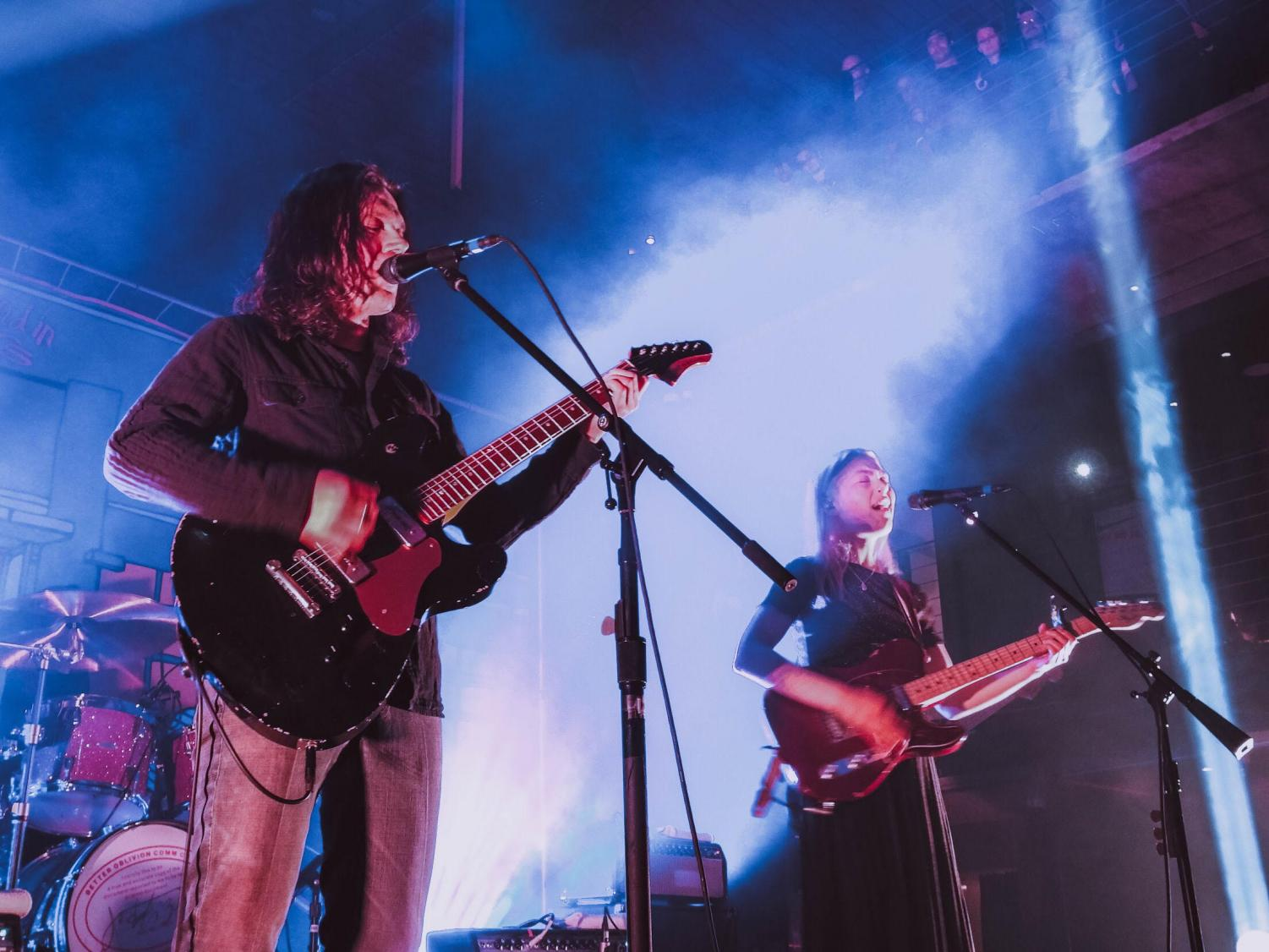 Phoebe Bridgers and Conor Oberst performing in San Diego on March 10.
