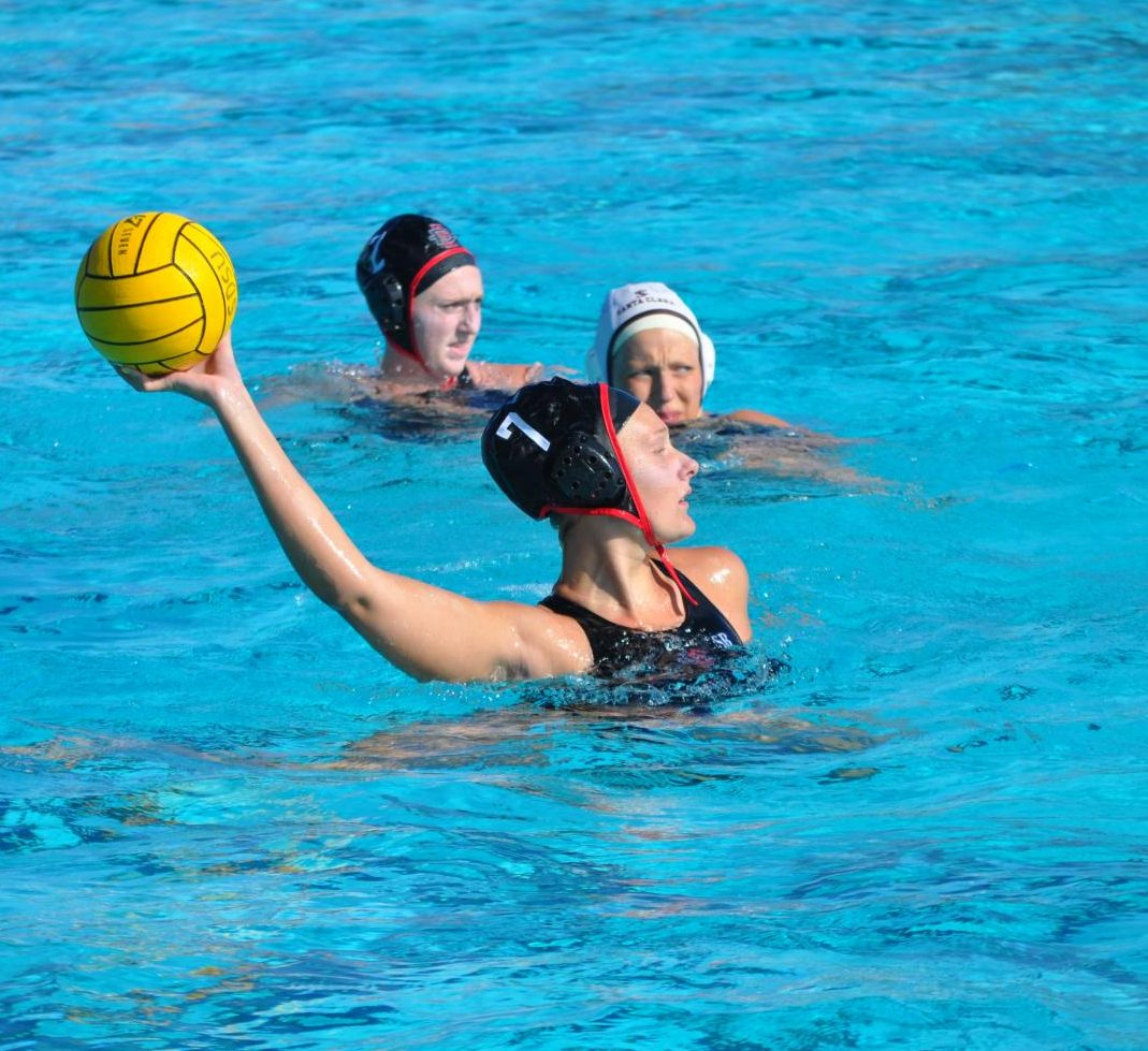 Junior utility player Shelby Kraft looks to pass during the Aztecs' 4-1 victory over Santa Clara on March 28 at the Aztec Aquaplex.