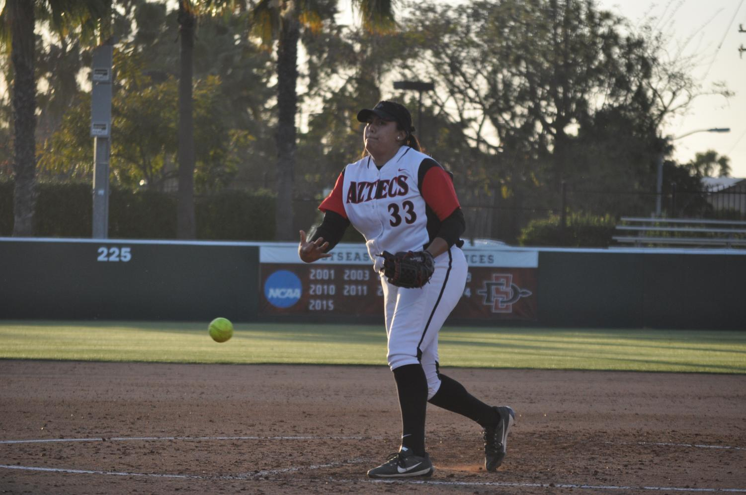 Junior pitcher Marissa Moreno throws from the circle during the Aztecs 2-1 victory over Cal Baptist on April 23 at the SDSU Softball Stadium.