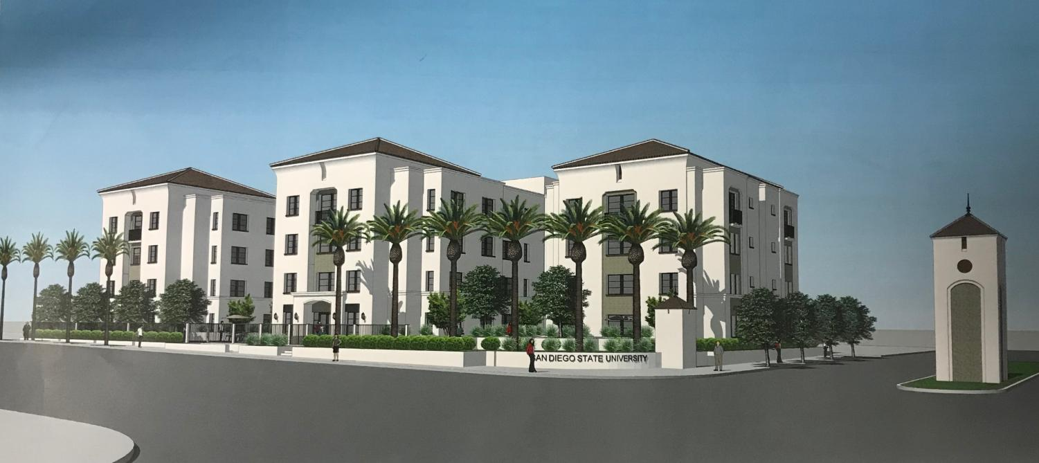 A rendering of the planned apartment complex for the corner of Montezuma Road and Campanile Drive. The building is set to be built atop the current Alpha Delta Chi house.