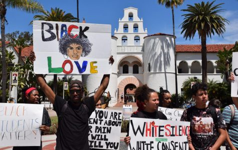 Student activists hold signs in front of Hepner Hall at San Diego State during the rally on Thursday, April 18, 2019.
