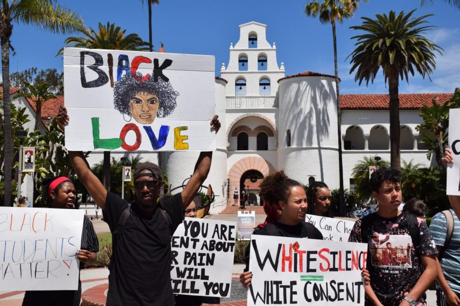 Student+activists+hold+signs+in+front+of+Hepner+Hall+at+San+Diego+State+during+the+rally+on+Thursday%2C+April+18%2C+2019.+
