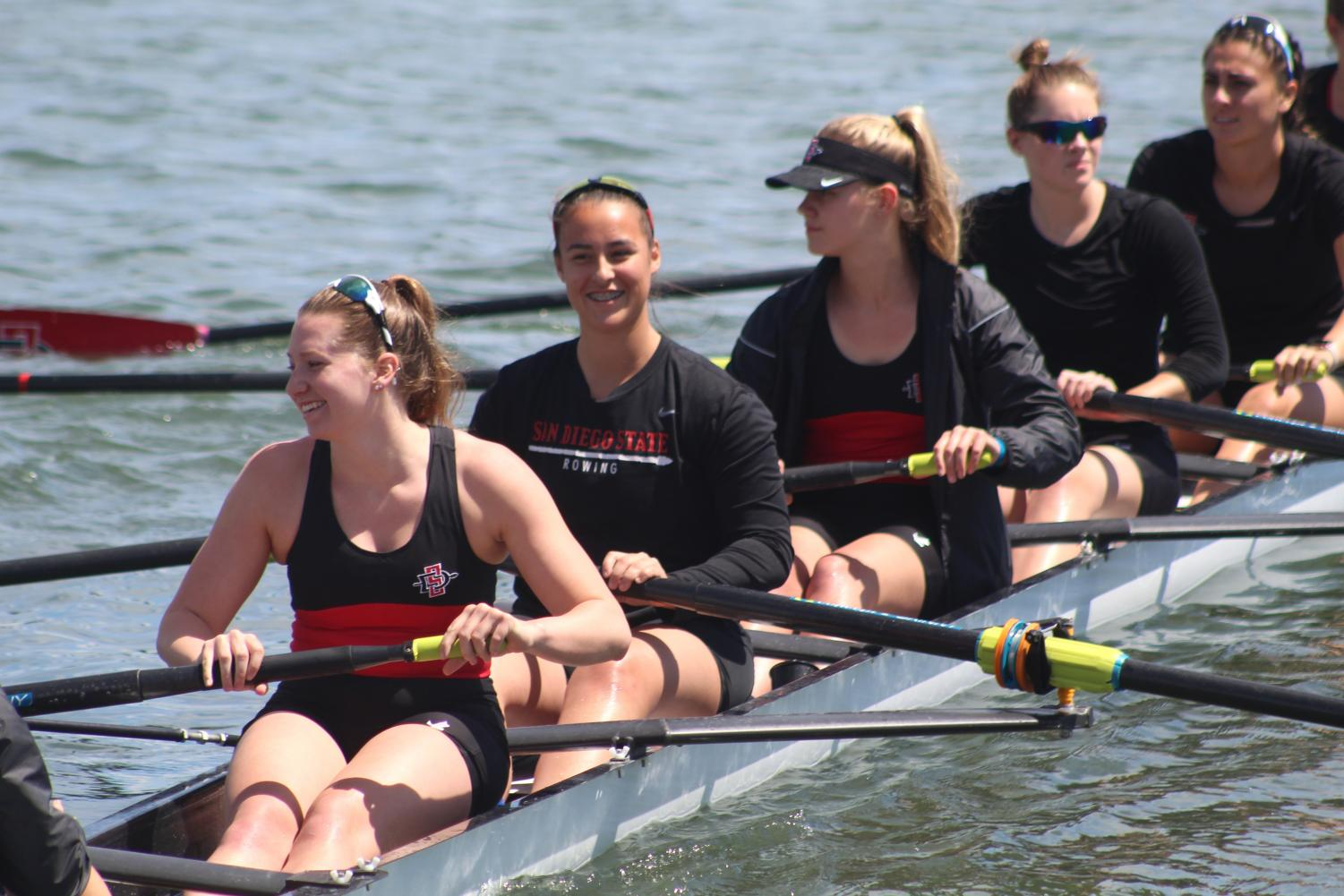The Aztecs open eight crew prepares to compete during the San Diego Crew Classic at Mission Bay on April 7.
