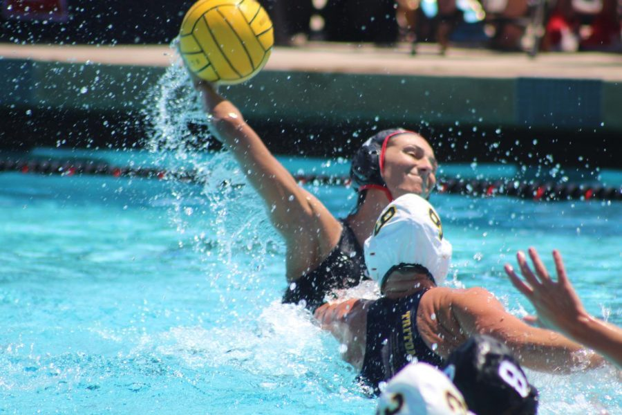 Junior utility Shelby Kraft takes a shot during the Aztecs' 9-5 loss to UCSD in the Harper Cup on April 20 at the Aztec Aquaplex.