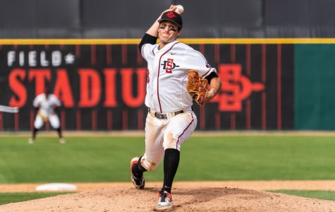 Then-sophomore pitcher Casey Schmitt pitches in the Aztecs' 5-4 victory over Air Force on April 20, 2019 at Tony Gwynn Stadium.
