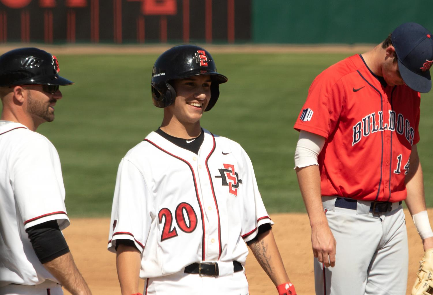 Freshman infielder Michael Paredes smiles during the Aztecs 11-6 victory over Fresno State on March 31 at Tony Gwynn Stadium.
