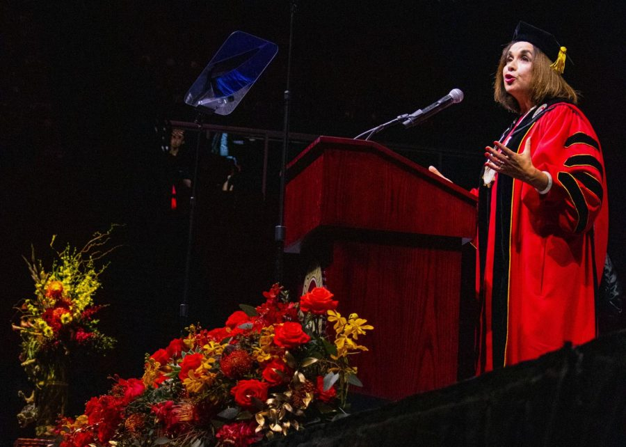 President+Adela+de+la+Torre+addresses+Viejas+Arena%2C+filled+with+university+community+members%2C+at+her+inauguration+on+April+11.