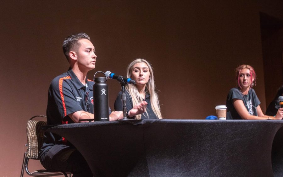 (Left to right) IFC President Jacob Mahony, CPA President Nicole Calise and women's studies sophomore Alison Aiken discussed their perspectives on Greek life at an April 22 event. The event tackled the issue of sexual assault within the Greek community.