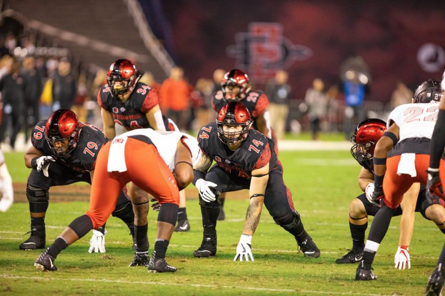 Tyler+Roemer+%2874%29+lines+up+against+defensive+linemen+during+the+Aztecs%27+27-24+loss+to+UNLV+on+Nov.+10%2C+2018+at+SDCCU+Stadium.