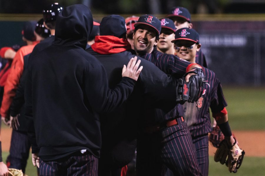 Senior+shortstop+Angelo+Armenta+celebrates+after+clinching+a+victory+during+the+Aztecs%27+series+against+Nevada+from+March+8-10+at+Tony+Gwynn+Stadium.