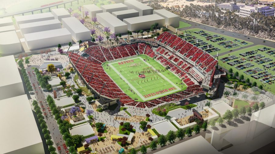 An+aerial+rendering+of+SDSU%27s+proposed+multi-use+stadium+at+the+site+of+its+Mission+Valley+expansion.