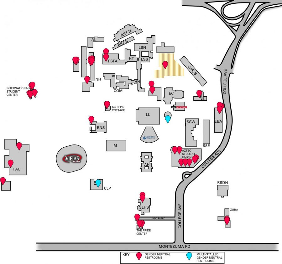 This+graphic+shows+all+32+of+the+gender+neutral+bathrooms+on+campus+with+three+of+them+being+multiple+stalls+and+the+others+being+singles.