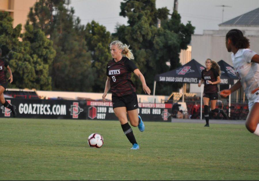 Junior midfielder Chloe Frisch dribbles the ball upfield in an exhibition game against Washington State on Aug. 16 at SDSU Sports Deck.