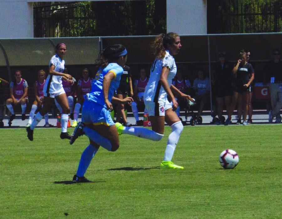 SDSU freshman midfielder Kiera Utush pushes the ball past the LIU defender on Aug. 25 at the SDSU Sports Deck.