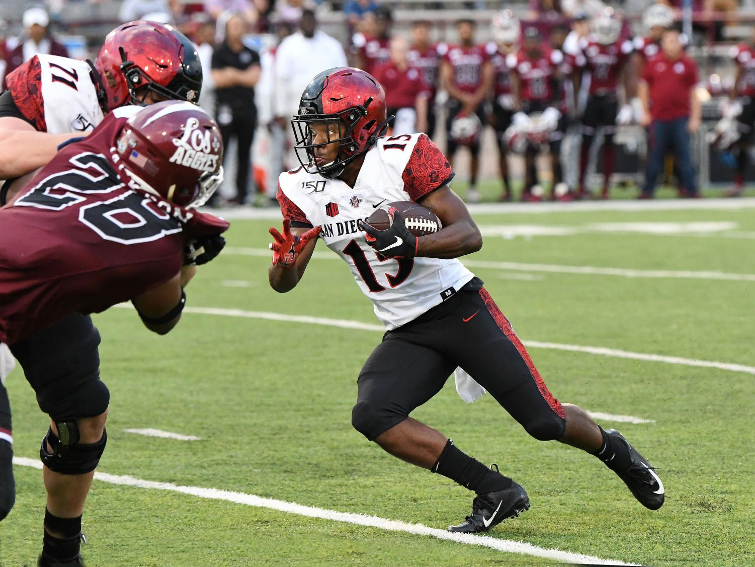 Sophomore running back Jordan Byrd cuts upfield during the Aztecs' 31-10 win over New Mexico State on Sept. 14 at Aggie Memorial Stadium.
