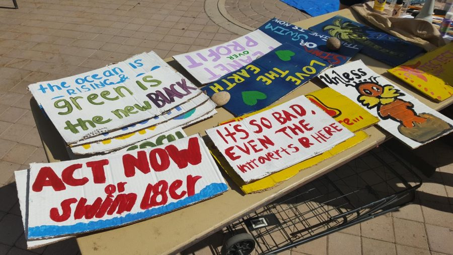 Students+used+recycled+cardboard+to+make+signs.