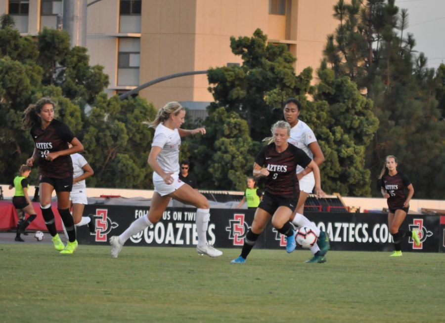 SDSU+junior+midfielder+Chloe+Frisch+attempts+to+escape+from+Washington+State+defenders+during+the+Aztecs%27+exhibition+on+Aug.+16+at+the+SDSU+Sports+Deck.
