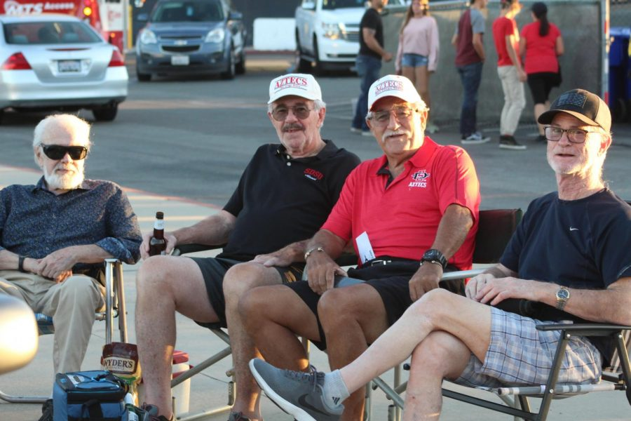 SDSU fans tailgate before an Aztec football home game.