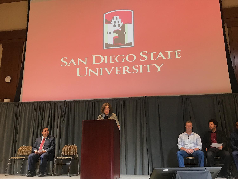 SDSU President Adela de la Torre speaks about the university's long-term vision at the Strategic Planning Team kickoff event.