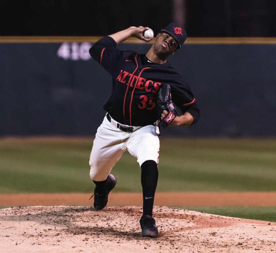 Then-freshman pitcher Aaron Eden throws a pitch during the Aztecs' 4-2 loss to the University of San Diego on Feb. 26 at Tony Gwynn Stadium.