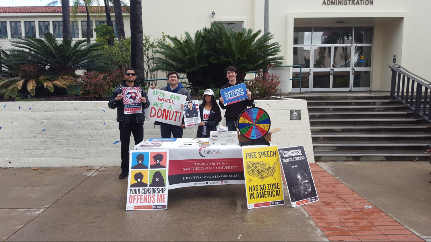 Turning Point USA at SDSU  members table every Thursday at the farmers market.