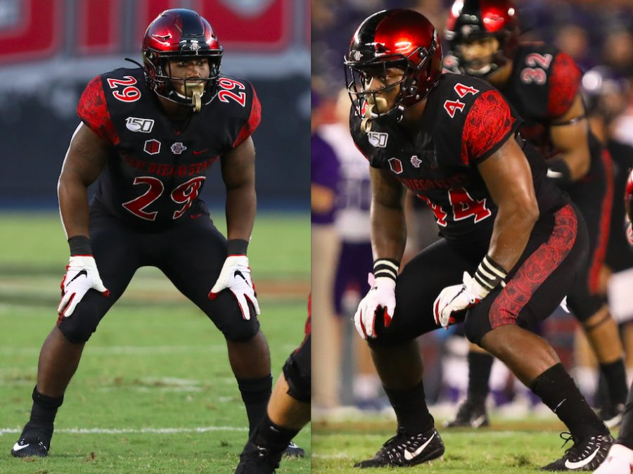 Senior+running+back+Juwan+Washington+and+senior+linebacker+Kyahva+Tezino+line+up+before+a+play+during+the+Aztecs%E2%80%99+6-0+win+over+Weber+State+on+Aug.+31.
